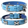 Blue Snakeskin Dog Collar